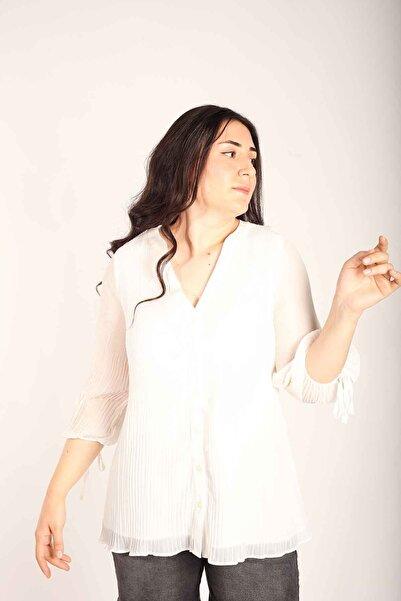 Blues Outlet Kadın Şifon Pliseli Gömlek Bluz-beyaz