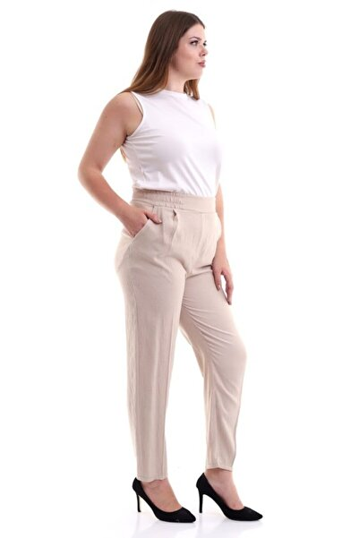 Mankens Fashion Bel Lastikli Büyük Beden Pantolon