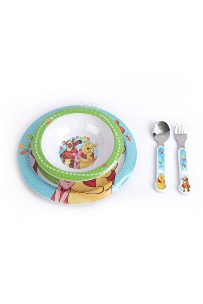 kbobaby Disney Winnie The Pooh Çocuk Yemek Takımı Tabak, Kase, Çatal, Kaşık, 4 Parça