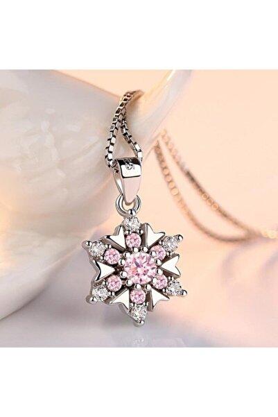 AstoriaSilver Kadın 925 Ayar Gümüş Pembe Kristalli Kar Tanesi Kolye 40cm