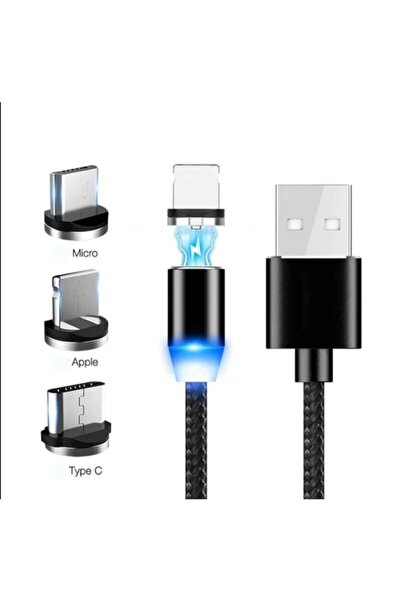 Santa Maria Jewels Siyah Renk Iphone Samsung Micro Usb Type-c Mıknatıslı Manyetik Şarj Kablosu 3 In 1