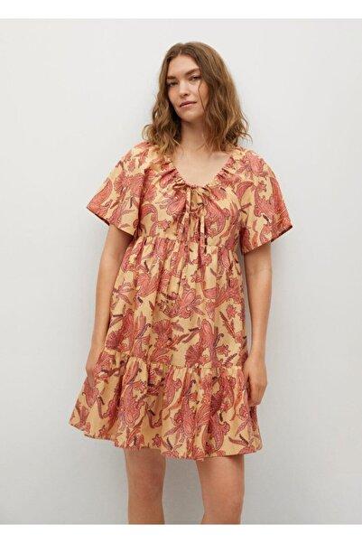 MANGO Woman Kadın Sarı Desenli Koton Elbise