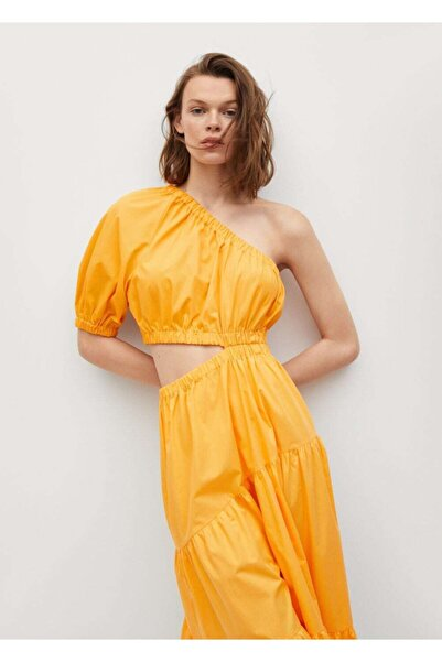 MANGO Woman Kadın Turuncu Yırtmaçlı Koton Elbise