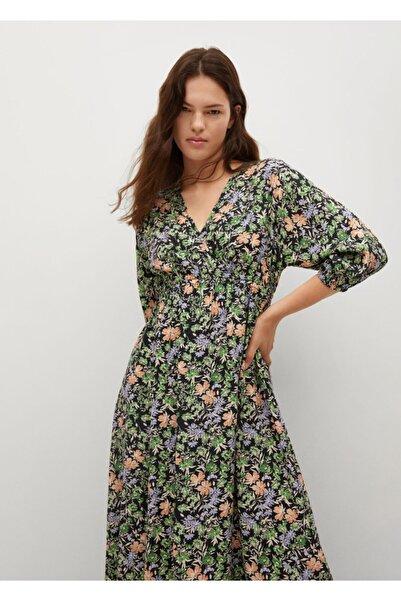 MANGO Woman Kadın Yeşil Çiçekli Elbise