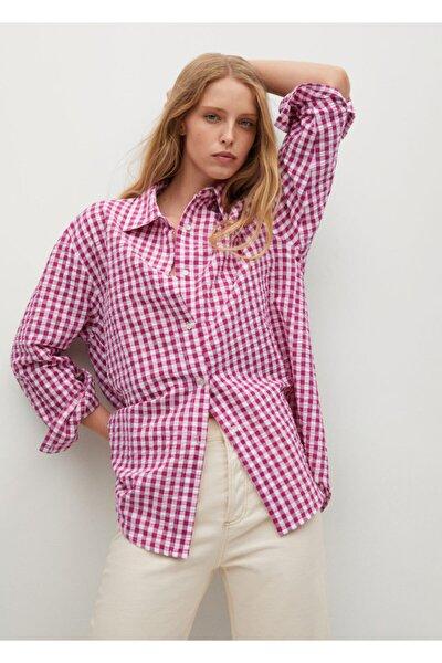 MANGO Woman Kadın Pembe Kareli Geniş Gömlek