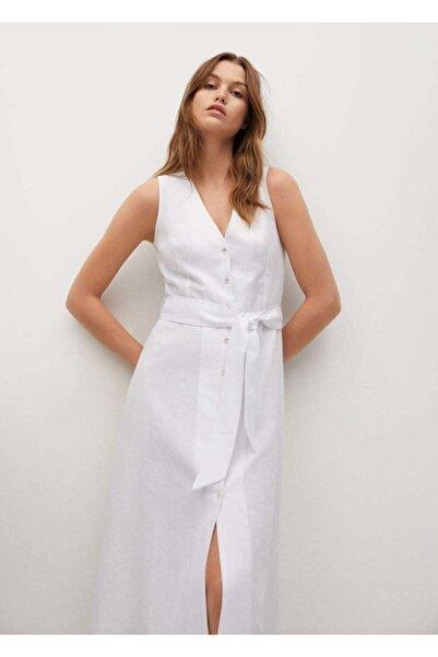 MANGO Woman Kadın Beyaz Kemerli Keten Elbise