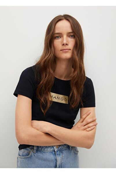 MANGO Woman Kadın Siyah Logo Baskılı Pamuklu T-shirt