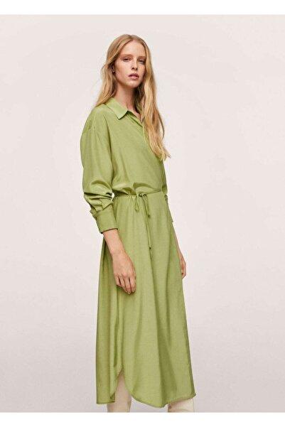MANGO Woman Kadın Yeşil Anvelop Saten Elbise