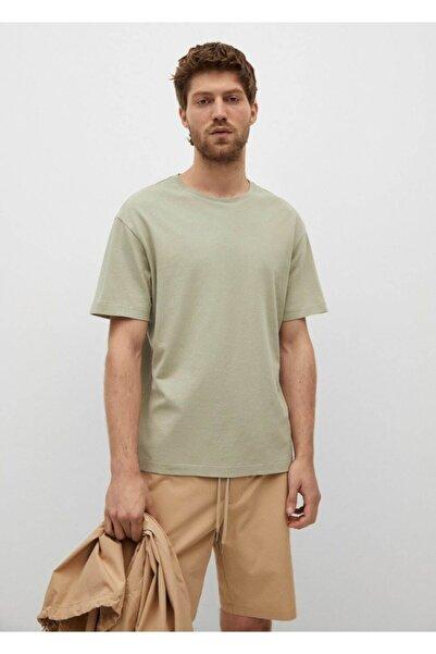 MANGO Man Erkek Pastel Yeşil Regular Kesim Pamuklu T-Shirt