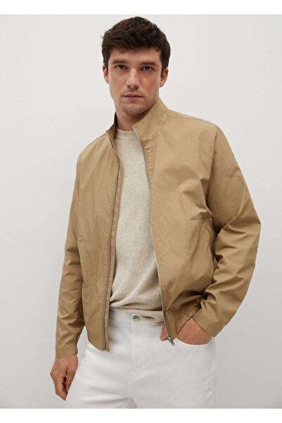 MANGO Man Erkek Bej Fermuarlı Pamuklu Ceket