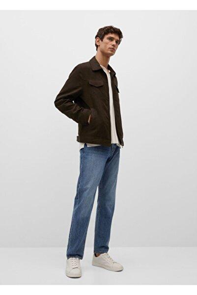MANGO Man Erkek Kahverengi Süet Görünümlü Ceket
