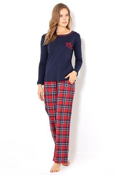 Doremi Kadın Lacivert Ekose Pijama Takımı