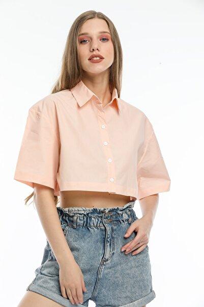 MODARC Kadın Turuncu Çizgili Pamuk Oversize Crop Gömlek