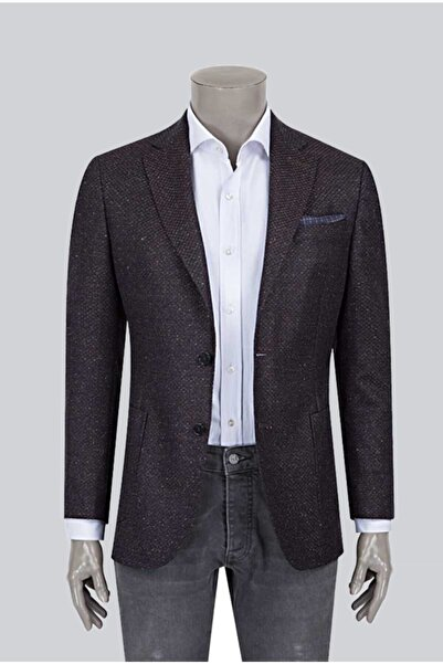 Damat Damat Slim Fit Lacivert Desenli Kumaş Ceket
