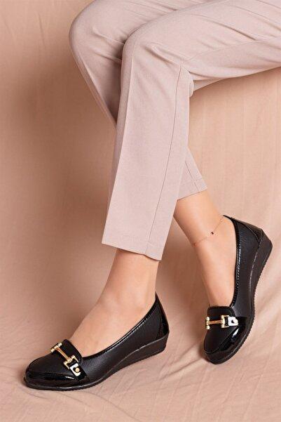 WOVS Kadın Siyah Babet - Anne Babet - Anne Ayakkabı Twoss135618
