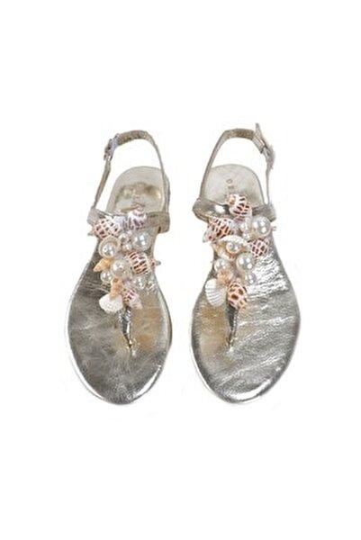 Lavion Hakiki Deri Altın Deniz Kabuğu Günlük Taşlı Kadın Sandalet