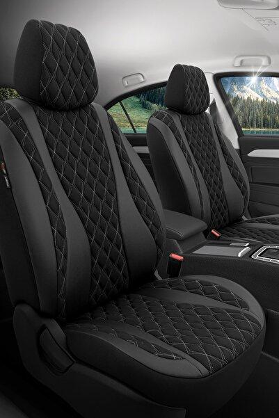 Otom Airbag Dikişli Özel Tasarım Exclusive Oto Koltuk Kılıfı Tam Set - Emperor Design Siyah-gri