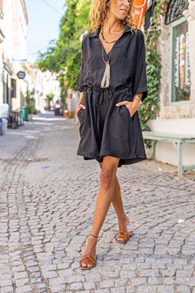 Güneşkızı Kadın Siyah Beli Büzgülü Kuşaklı Çift Cep Salaş Keten Tulum GK-BST3163