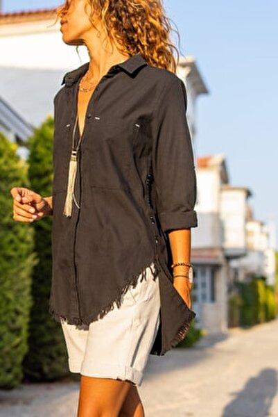 Kadın Siyah Yanı Düğmeli Eteği Püsküllü Gömlek GK-AYN1666