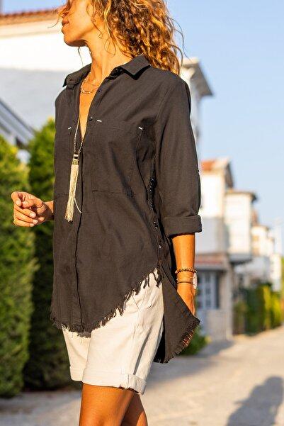 Güneşkızı Kadın Siyah Yanı Düğmeli Eteği Püsküllü Gömlek GK-AYN1666