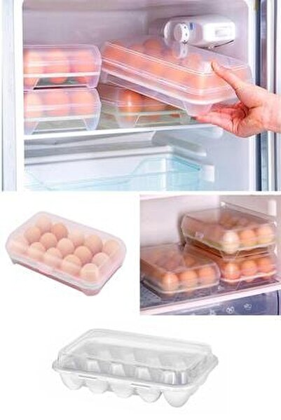 15 Bölmeli Plastik Kapaklı Yumurta Saklama Kutusu