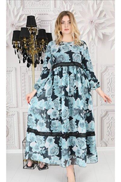 BELFAM ANTONELLA Uzun Çiçek Desenli Şifon Büyük Beden Elbise