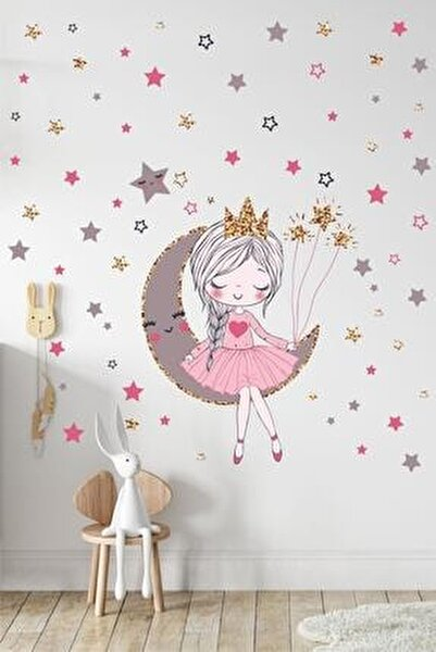 Orta Boy Ayda Oturan Sevimli Kız Çocuk Odası Duvar Sticker Seti