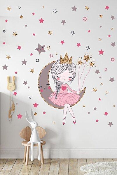 Kt Grup Orta Boy Ayda Oturan Sevimli Kız Çocuk Odası Duvar Sticker Seti