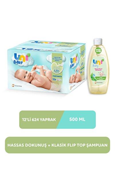 Uni Baby Hassas Dokunuş Islak Mendil 12'li 624 Yaprak +Şampuan 500 ml Set