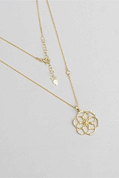 So CHIC... Yaşam Çiçeği Figürlü 18 Ayar Sarı Altın Kaplama Gümüş Kolye