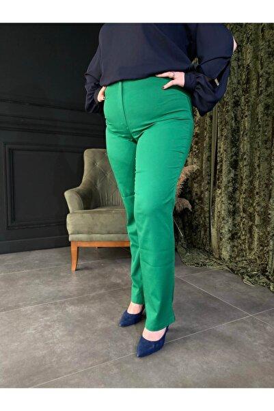 Roxxlen Kadın Yeşil Büyük Beden Pantolon - 3518