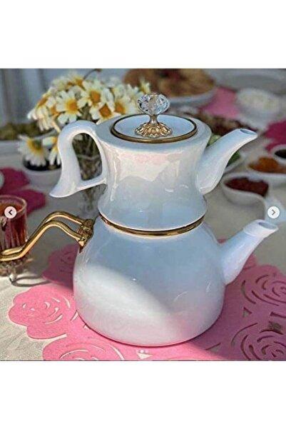 Miss Betty Sadem Porselen Demlikli Çaydanlık Beyaz