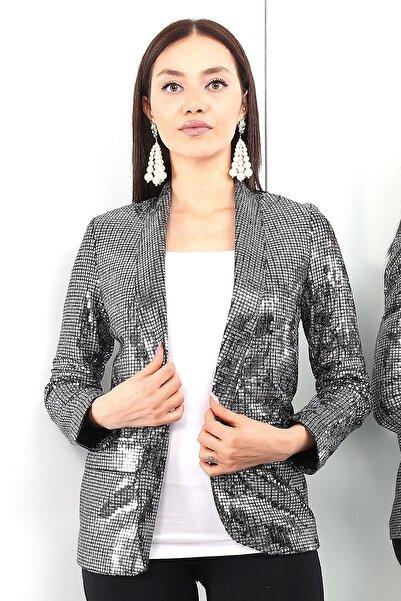 LOVE IS EVERYWHERE Kadın Gümüş Uzun Kol Pul Payet Şık Ceket