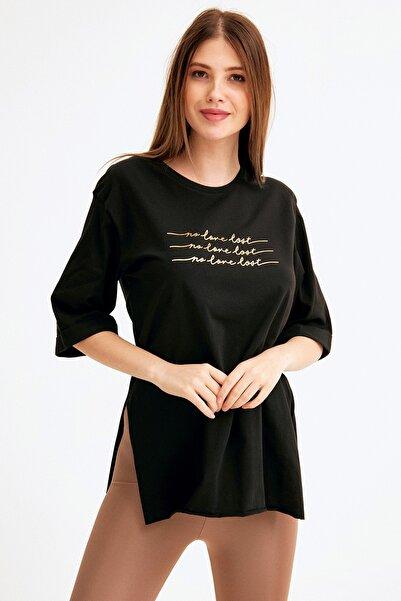 Fulla Moda No Love Lost Baskılı Oversize Tshirt