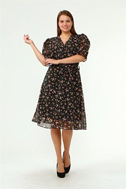 Neşeli Butik Kadın Kruvaze Yaka Midi Boy Büyük Beden Çiçekli Şifon Elbise Nb80621