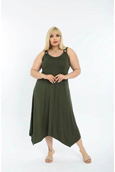 BELİS BUTİKK Kadın Omuz Tokalı Asimetrik Askılı Elbise