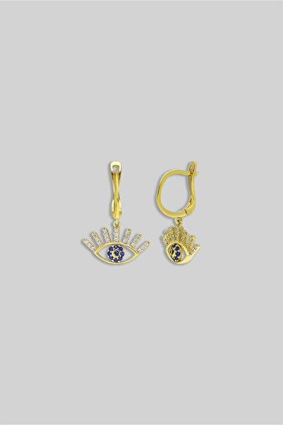 So CHIC... Göz Figürlü 18 Ayar Sarı Altın Kaplama Gümüş Küpe
