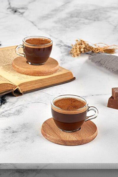 JOY KİTCHEN Piraye 2 Kişilik Cam Kahve Takımı Seti Ahşap Tabaklı