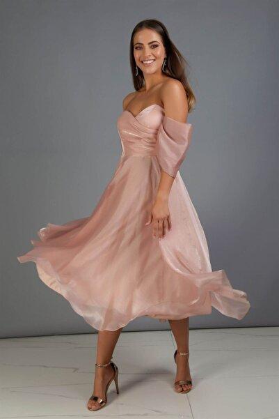 Carmen Gold Düşük Kollu Organze Nişan Abiye Elbise