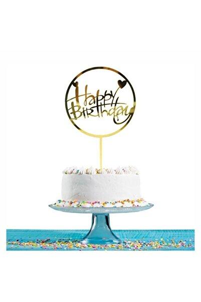 Artı Group Gold Aynalı Pleksi Happy Birthday Pasta Süsü