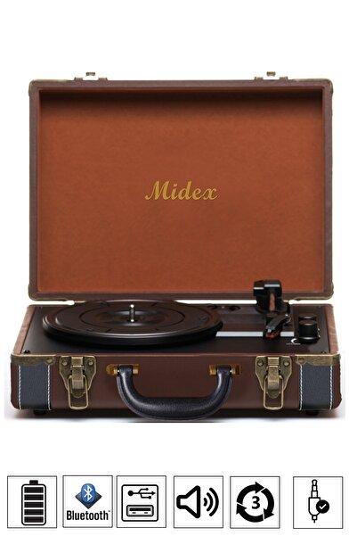 Midex Mtx100bn Pikap Plak Çalar (ŞARJLI BLUETOOTH USB AUX HOPARLÖRLÜ 3 DEVİR) Iğne Dahil