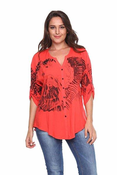Zer Otantik Baskılı Taş Detay Büyük Beden Gömlek Bluz Mercan