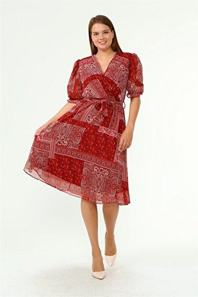 Neşeli Butik Kadın Kruvaze Yaka Midi Boy Büyük Beden Etnik Desenli Şifon Elbise Nb80623