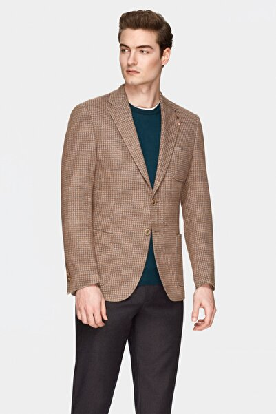 Damat Slim Fit Camel Kaz Ayağı Kumaş Ceket