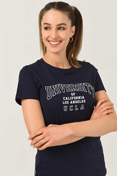 UCLA Bodega Lacivert Bisiklet Yaka Baskılı Kadın T-shirt