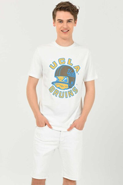 UCLA Galt Beyaz Bisiklet Yaka Baskılı Erkek T-shirt