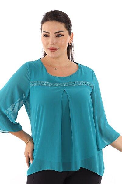 Selent Kadın Yeşil Taş Detaylı Büyük Beden Şifon Bluz