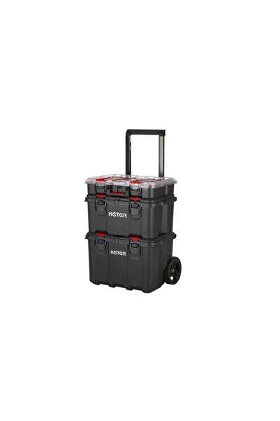 Keter 17210365 Pack N Stack Hart Modular System 3 Katlı Tekerlekli Takım Çantası