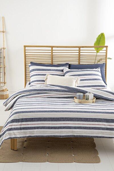 English Home Modern Stripe Pamuklu Tek Kişilik Nevresim Seti 160x220 Cm Lacivert