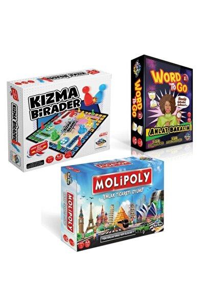 Bundera Süper 3'lü Set Molipoly Emlak Ticaret Oyunu + Kızma Birader+ Word To Go Xl Tabu Xl Edition